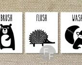 Bathroom Printable, Fox, Forest Friends, Printable Bathroom Wall Art, Bathroom decor-5x7 File Download