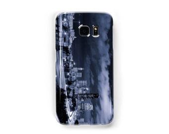 Dark Blue Seattle Skyline Samsung Galaxy Case - Available for Samsung Galaxy S7 Edge, Galaxy S7, Galaxy S6 Edge, Galaxy S5, Galaxy S4