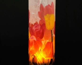 Tulip candle surround.  1 large size cover with 1 free Electric Tea Light.  Acrylic tube with digital photography.  Patio and garden decor.