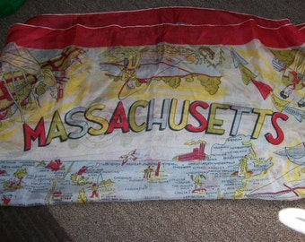 Vintage Silk Scarf - One Massachusetts with all the Landmarks on Them of Boston and Surrounding Attractions