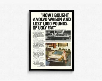 Volvo Car Vintage Memorabilia • A Car You Can Believe In • Vintage Volvo Car • Neat Dad Gift • Ready to Frame • Auto Dealer • Volvo Lover