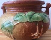 Roseville Pottery Fuchsia Brown jardiniere #645-3 Mint!