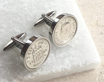1953 to 1967 Silver Sixpence Cufflinks