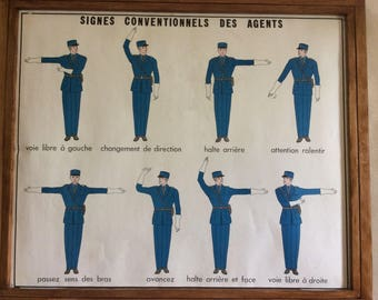 Large Stunning Vintage 1960's Original French School Poster of French policemen/ Traffic Control