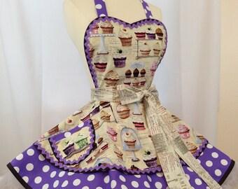 Cupcakery PInUp Apron, Retro Apron , Woman's Apron, Purple Polka Dots, Kawaii