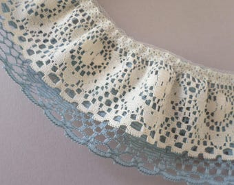 ecru and wedgewood blue double layer ruffled lace, 2 yards long 2 inch wide