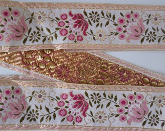 Pink floral embroidered ribbon, trim, jacquard  woven ribbon, 2 inch wide x 1 1/3yards long