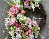 Spring Wreath, Easter Wreath, Spring Floral Wreath, Elegant Floral, Victorian Wreath, XL Wreath, Designer Wreath, Country French Wreath