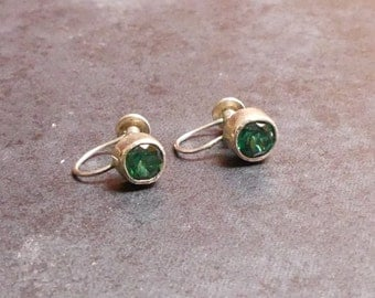 Vintage Sterling Silver Emerald Green Stone Stud Earrings