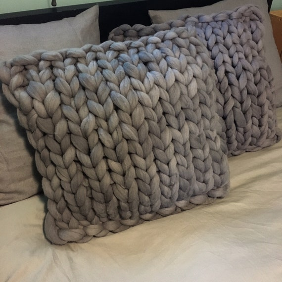 Chunky Knit cushion, 16 x 16 pillow, grey cushion, merino wool cushion, knit pillow, knit cushion, Wool Throw Pillow, Colors & Stitches