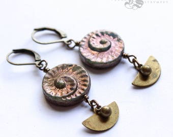 Spiral Czech Glass Shell Earrings in Antique Brass. Ran's Crescents