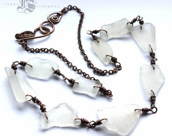 Whitby Sea Glass Statement Necklace in Copper. Hild's Ghosts