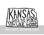 INSTANT DOWNLOAD - Kansas There's No Place Like Home - 8x10 Illustrated Print by Mandy England