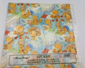American Greetings Baby Boy Gift Wrap 1976  Baby Shower Scrapbooking