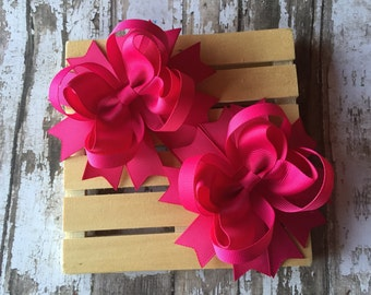Set of two fuchsia pigtail hair bows , pigtail hair bows , 4 inch hair bows , hair bows for girls