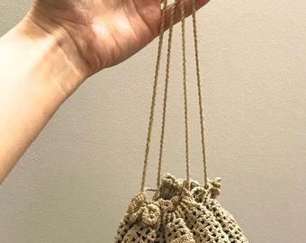 1930s Tan Crochet Cinch Purse