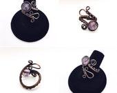Copper Adjustable Amethyst Paisley Ring
