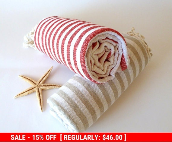 SALE, Turkish Towel, Peshtemal, Bath, Beach towel, Hammam towel, Set of 2 towels, Light Brown and Red, mom, mother's day gift
