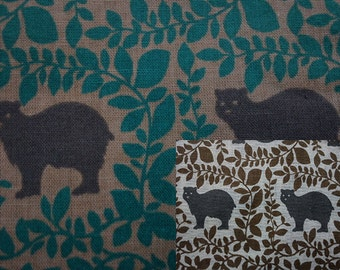 Bears among leaves, thin, fat quarter, pure cotton fabric
