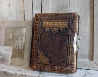 Antique Victorian Photo Album, Brown Tooled Leather, Victorian Primitive Antiques