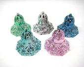Vintage Christmas Ornaments -Metallic Filigree, Plastic Bells - Lot of 5 Shiny Bells in Blue, Green, Pink, Silver, Sea Green