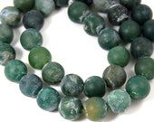Matte Moss Agate Round 10mm -15 inch strand