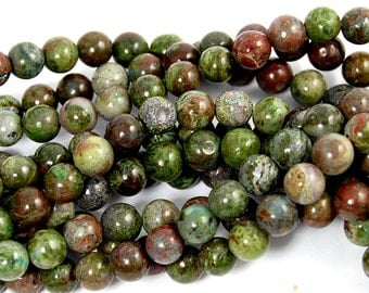 6mm Dinosaur Stone Jasper in Deep Red and Forrest Green -15.5 inch strand