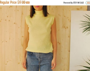 SALE Yellow sleeveless Turtleneck top ribbed tank