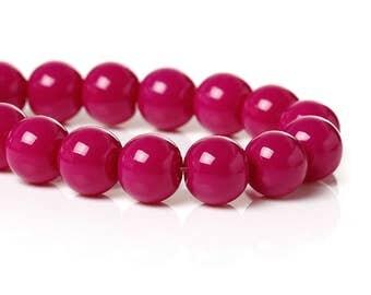 40 Fuchsia Round Glass Beads 8mm