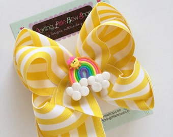 Sunshine Bow, Sun Bow, Sunshine Hairbow - Ray of Sunshine - Hot pink, yellow hairbow with adorable, sun center by Darling Little Bow Shop