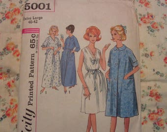 Simplicity 5001 60s Sleepwear Sewing Pattern XL Robe Nightgown Long Short