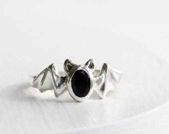 Bat Ring,Black Onyx and Sterling Silver, Bat Fine Jewelry
