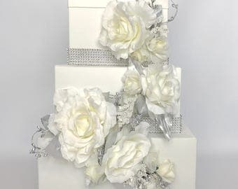 Wedding Card Box Cascade Silver, Bling, and Ivory Or White Wedding Card Holder Unique Elegant Wedding Card Box Custom Box Handmade Gift Card