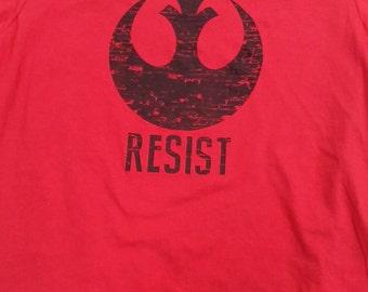 Star Wars - RESIST - Rebel Alliance -  Red T-shirt - Men/Unisex sizes