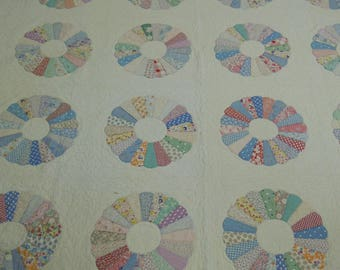 """Vintage quilt Dresden Plate 1930's - '40's  scraps of cotton fabrics hand appliqued and quilted  82"""" x 96""""   8"""" borders on all four sides"""