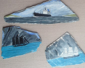 Ships painted on slates x 3 decorator item collectable quirky gift