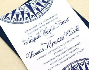 Nautical Wedding Invitation, Compass Wedding Invitations, Compass Rose Wedding Invites, Beach Wedding Invite, Nautical Invitation Suite