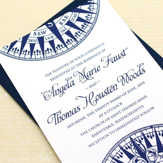 Nautical Wedding Invitation Compass Wedding Invitation Set