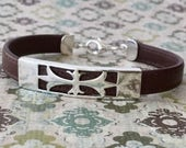 Nappa Leather Bracelet Sterling Silver Clasp Chic Bohemian Fleur-de-Lis Black Brown Red Leather Free Shipping