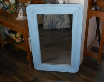 Large Vintage Bamboo Reeds & Rustic Wood Framed Mirror - Rustic Chucky Frame - Sky Blue and Grey Distressed