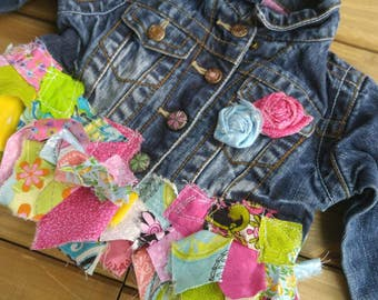 Upcycled Recycled Repurposed, Altered clothing, Girl's Jean Jacket,  Shabby Chic Clothes, Boho chic clothing, upcycled clothing, girl's coat