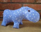 Periwinkle Dot Hippopotamus Handmade Stuffed Animal