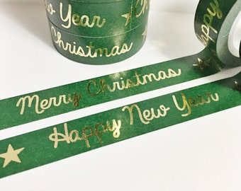 SALE Christmas Dark Green Washi With Gold Foil Merry Christmas Happy New Year Stars Gold Foil Washi Tape 11 yards 10 meters 15mm