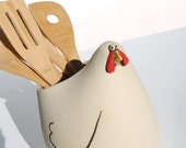 Chicken shaped spoon holder, utensil holder or crock perfect for your country kitchen