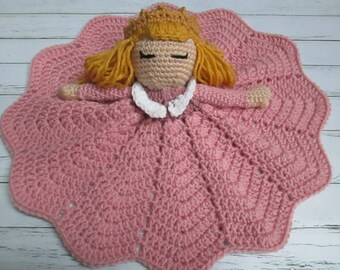 Crochet Princess Doll- Sleaping BeautyLovey Doll DouDou Toy Blanket