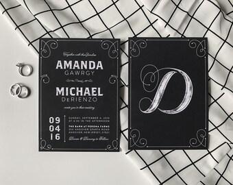 "Printable DIY Wedding Invitation Suite ""Elegant Chalkboard"""