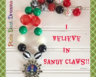 """Darling RTS """"I Believe in Sandy Claws"""" Jack Skellington Snowflake 19' necklace!!"""