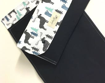 Diaper clutch nappy bag wallet with travel change mat/pad. 'Moose in the woods'. Best baby shower gift.
