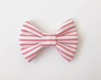 Pink Striped Bow (Handmade Bow / Bow Tie / or Headband)