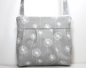 Gray with White Dandelions Small Pleated Shoulder Purse Sling Bag Hobo Shoulder Bag Cross Body Bag Crossbody Bag - Ready to Ship